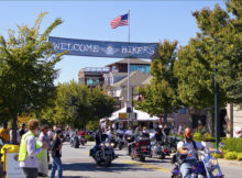 "A ""Welcome Bikers"" banner greets bikers on Dickson Street in downtown Fayetteville, AR during the 2011 Bikes, Blues and BBQ Festival."