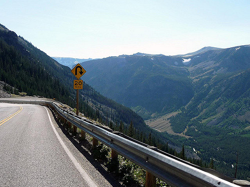Scenic Winding curves through Beartooth Highway